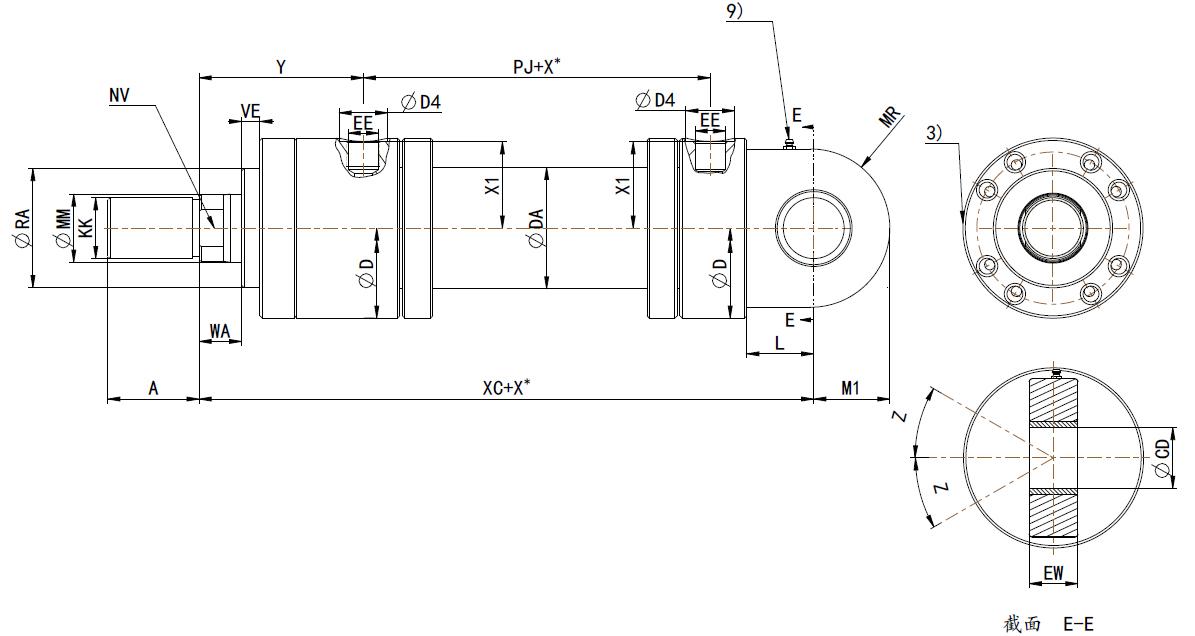 cdh3系列高压油缸-mp3后耳环带衬套_液压缸|液压油缸图片